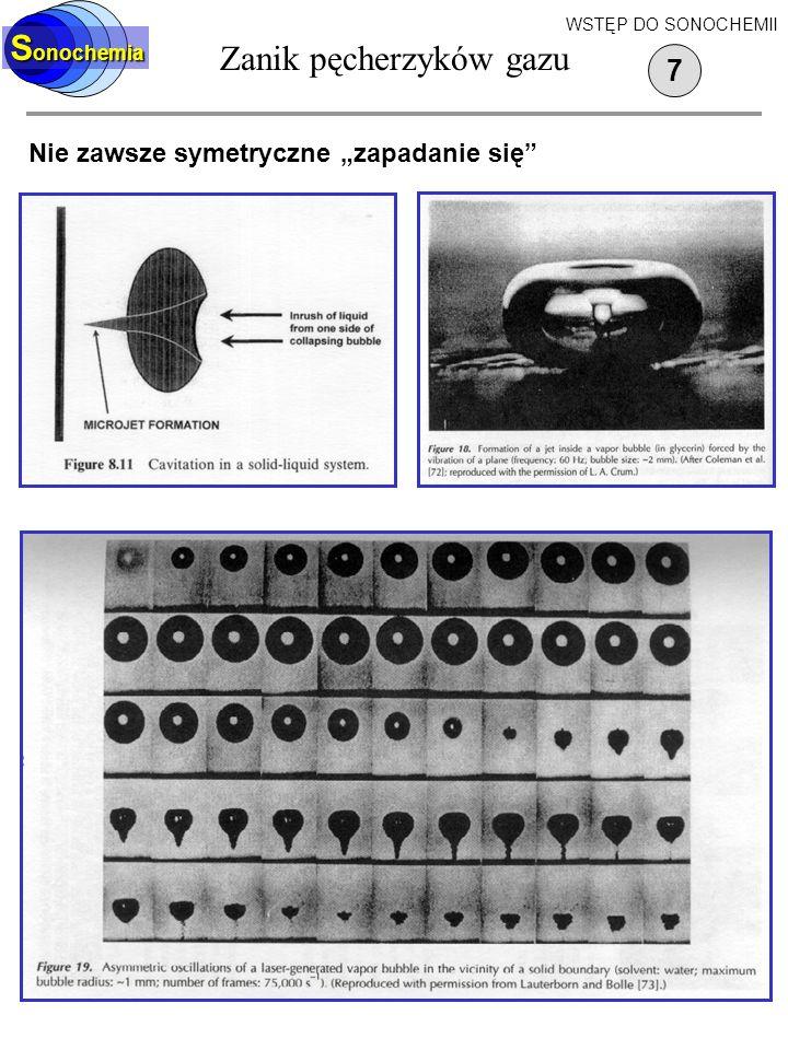 Zanik pęcherzyków gazu S onochemia Nie zawsze symetryczne zapadanie się 7 WSTĘP DO SONOCHEMII