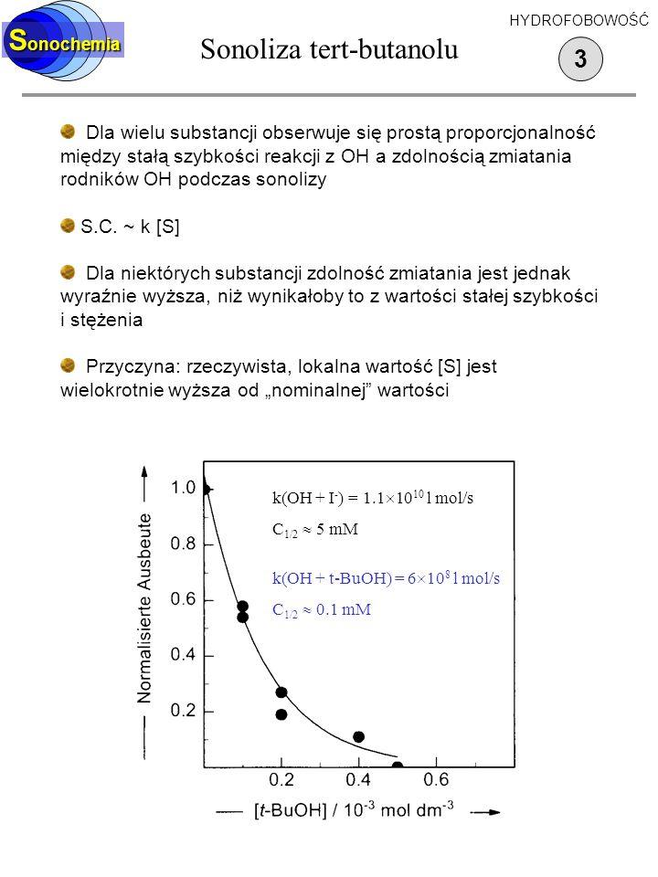 Sonoliza surfaktantów 2 S onochemia Porównanie wydajności nadtlenku wodoru w roztworach substancji powierzchniowo czynnych i substancji hydrofilowych Średnie stężenie potrzebne do zmiecenia połowy rodników OH jest 10 - 1000 krotnie niższe dla związków powierzchniowo czynnych niż dla soli.