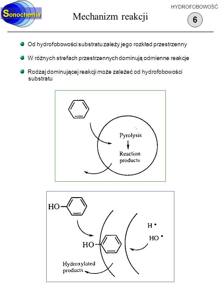 Sonoliza tert-butanolu 5 S onochemia HYDROFOBOWOŚĆ Wzbogacenie warstwy powierzchniowej w substrat hydrofobowy Odparowanie substratu hydrofobowego do wnętrza pęcherzyka, piroliza w fazie gazowej