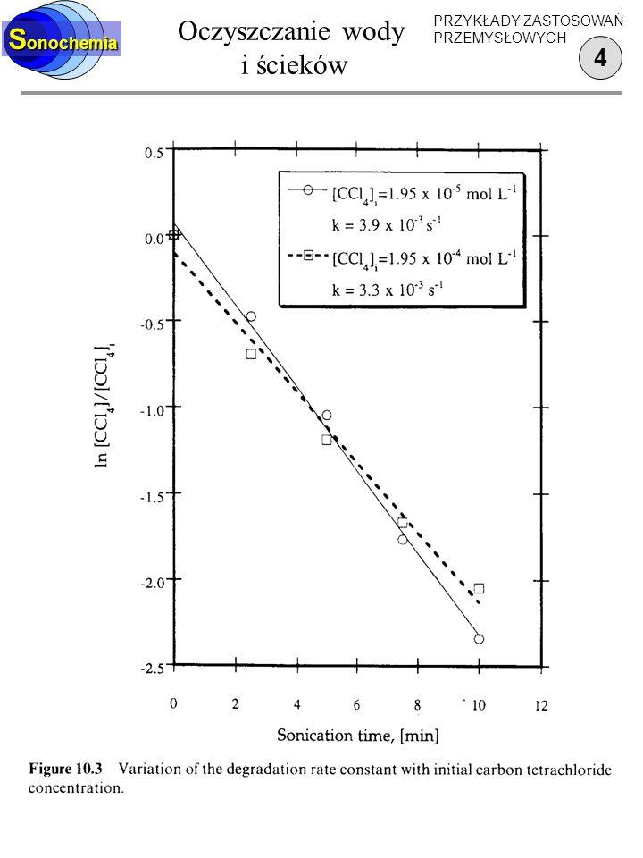 Oczyszczanie wody i ścieków 3 S onochemia PRZYKŁADY ZASTOSOWAŃ PRZEMYSŁOWYCH Parametry: 40 kHz 300 m 3 /h 1 W/cm 2 16 kW 0.05 kWh/m 3 1.6 m 3