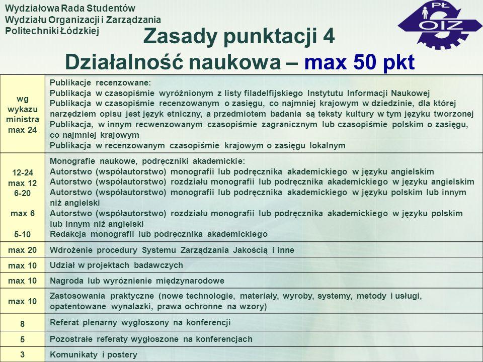 Zasady punktacji 4 Działalność naukowa – max 50 pkt Wydziałowa Rada Studentów Wydziału Organizacji i Zarządzania Politechniki Łódzkiej wg wykazu minis