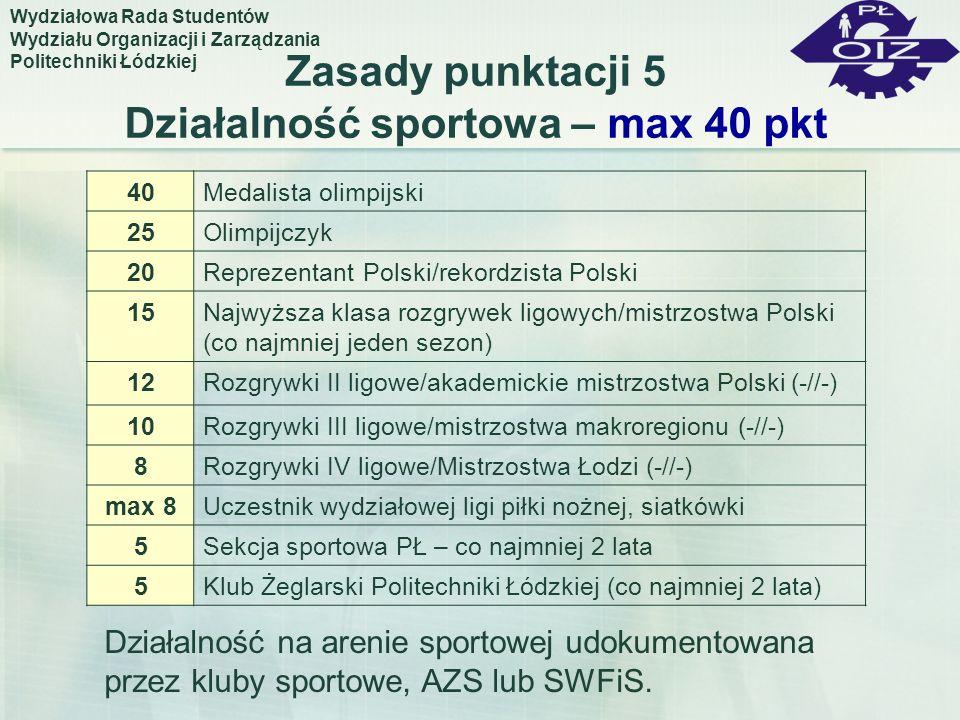 Zasady punktacji 5 Działalność sportowa – max 40 pkt 40Medalista olimpijski 25Olimpijczyk 20Reprezentant Polski/rekordzista Polski 15Najwyższa klasa r