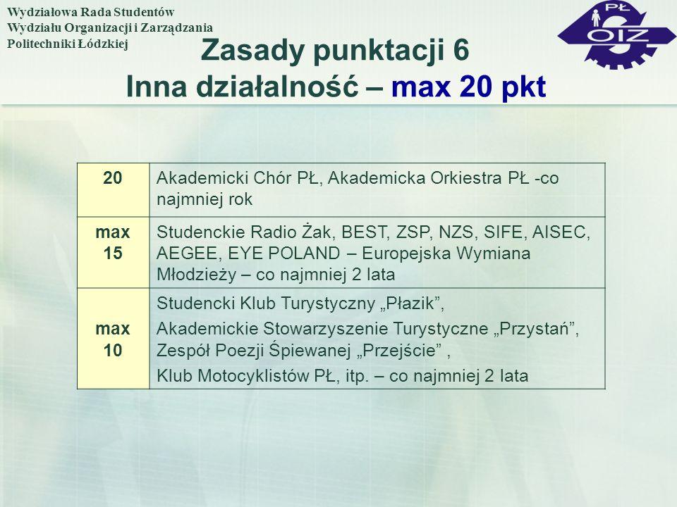 Zasady punktacji 6 Inna działalność – max 20 pkt 20Akademicki Chór PŁ, Akademicka Orkiestra PŁ -co najmniej rok max 15 Studenckie Radio Żak, BEST, ZSP
