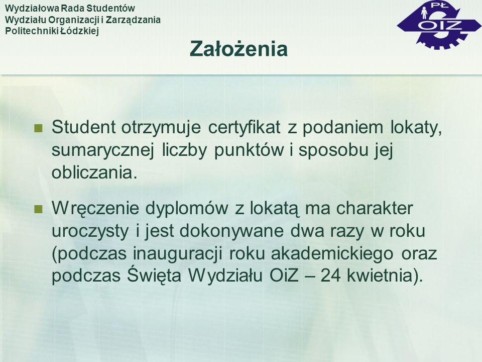 Założenia Student otrzymuje certyfikat z podaniem lokaty, sumarycznej liczby punktów i sposobu jej obliczania. Wręczenie dyplomów z lokatą ma charakte