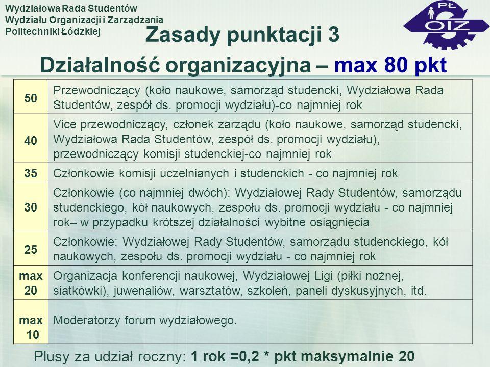 Zasady punktacji 3 Działalność organizacyjna – max 80 pkt 50 Przewodniczący (koło naukowe, samorząd studencki, Wydziałowa Rada Studentów, zespół ds. p