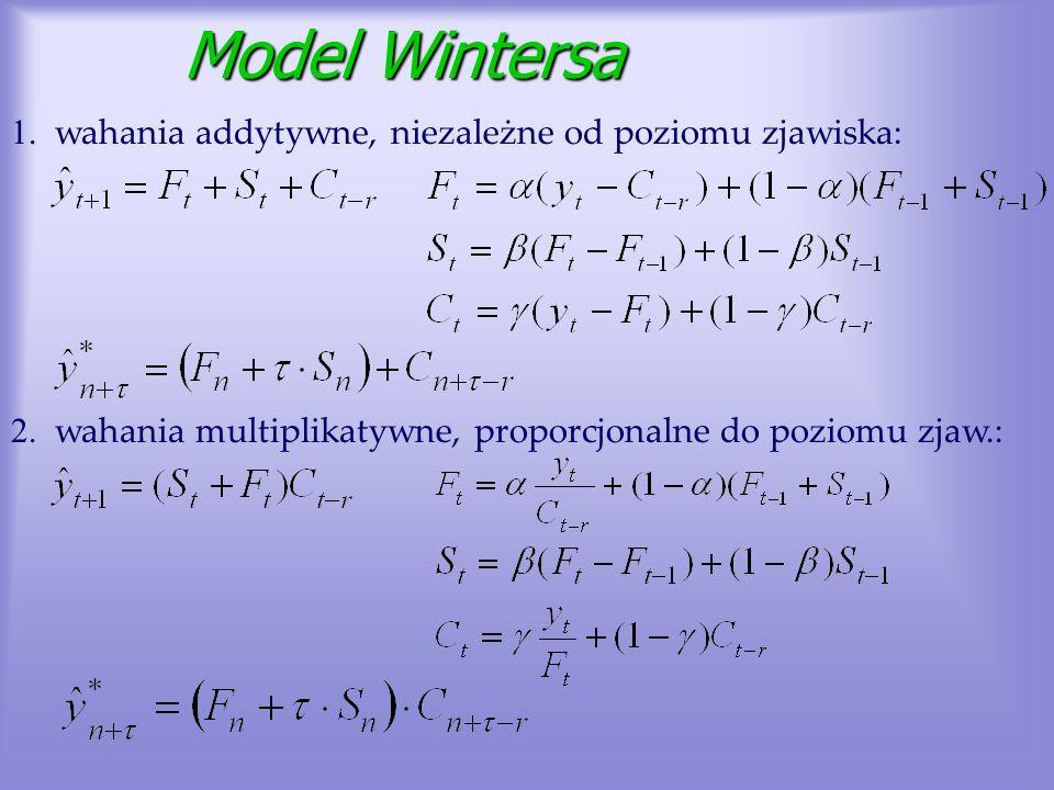 Model Wintersa Model Wintersa 1. wahania addytywne, niezależne od poziomu zjawiska: 2. wahania multiplikatywne, proporcjonalne do poziomu zjaw.: