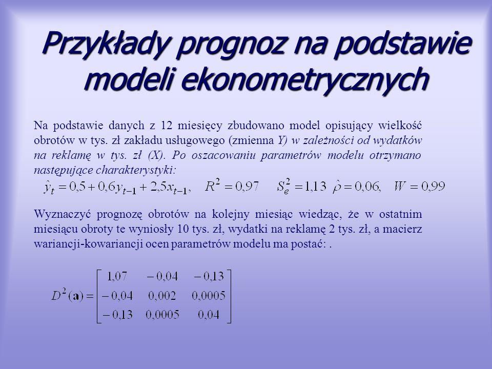 Przykłady prognoz na podstawie modeli ekonometrycznych Na podstawie danych z 12 miesięcy zbudowano model opisujący wielkość obrotów w tys. zł zakładu