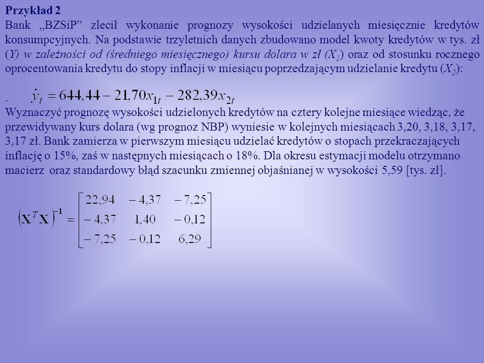 Przykład 2 Bank BZSiP zlecił wykonanie prognozy wysokości udzielanych miesięcznie kredytów konsumpcyjnych. Na podstawie trzyletnich danych zbudowano m