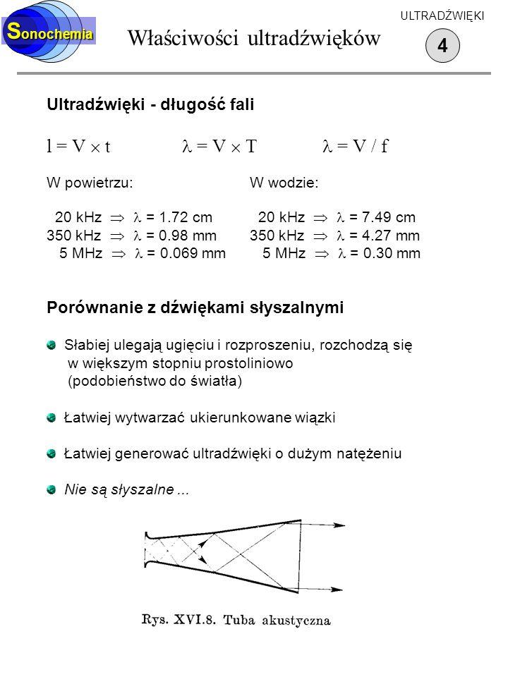 Właściwości ultradźwięków Ultradźwięki - długość fali l = V t = V T = V / f W powietrzu:W wodzie: 20 kHz = 1.72 cm 20 kHz = 7.49 cm 350 kHz = 0.98 mm3