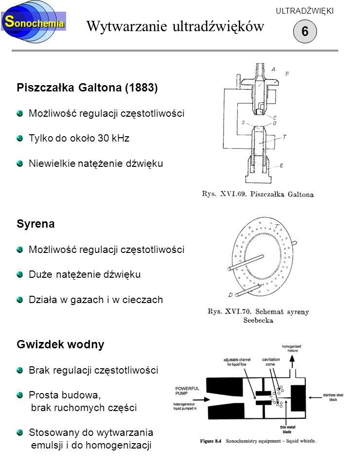 Wytwarzanie ultradźwięków 6 S onochemia ULTRADŹWIĘKI Piszczałka Galtona (1883) Możliwość regulacji częstotliwości Tylko do około 30 kHz Niewielkie nat