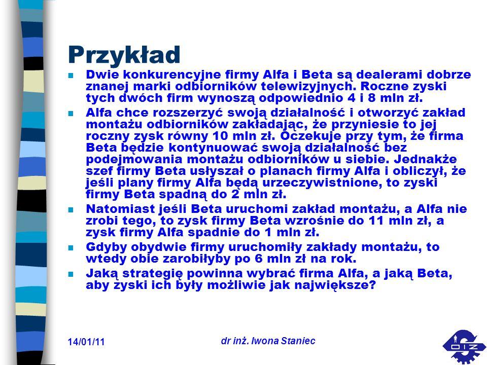 14/01/11 dr inż. Iwona Staniec Przykład n Dwie konkurencyjne firmy Alfa i Beta są dealerami dobrze znanej marki odbiorników telewizyjnych. Roczne zysk