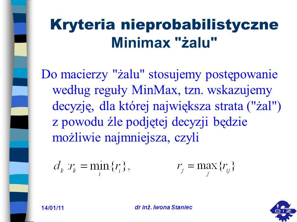 14/01/11 dr inż. Iwona Staniec Kryteria nieprobabilistyczne Minimax