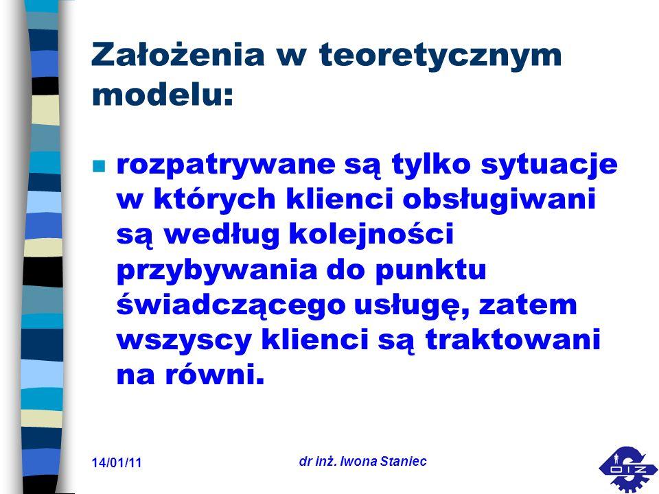 14/01/11 dr inż. Iwona Staniec Założenia w teoretycznym modelu: n rozpatrywane są tylko sytuacje w których klienci obsługiwani są według kolejności pr