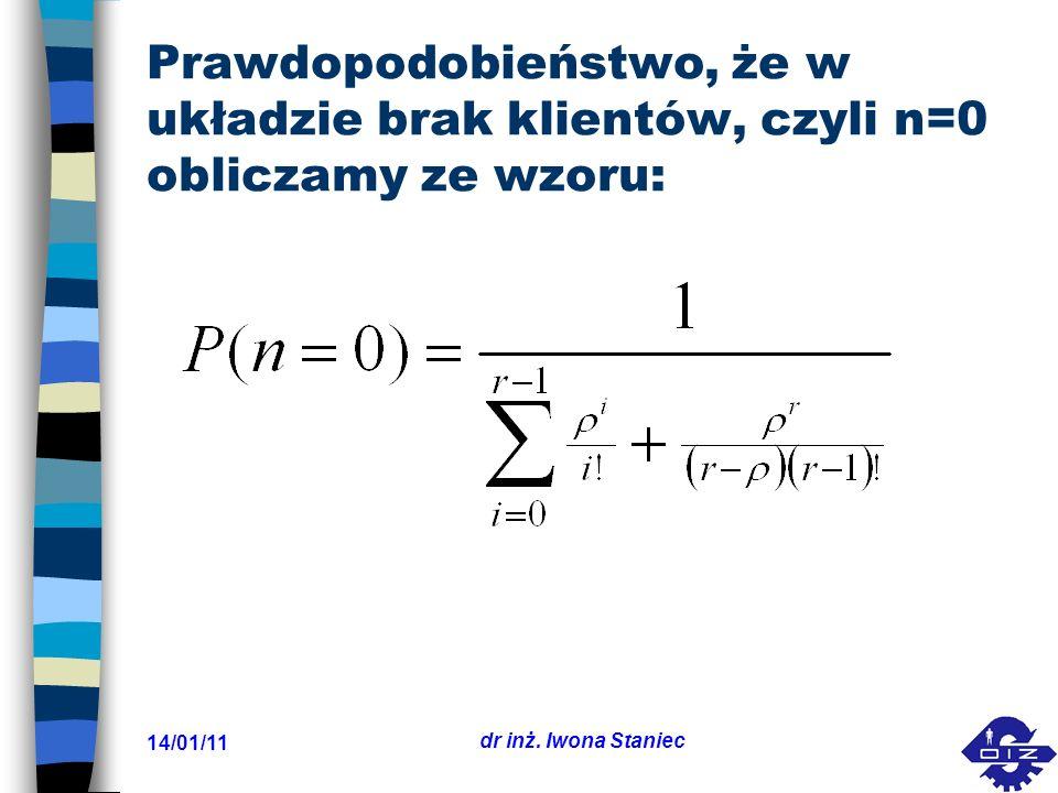 14/01/11 dr inż. Iwona Staniec Prawdopodobieństwo, że w układzie brak klientów, czyli n=0 obliczamy ze wzoru: