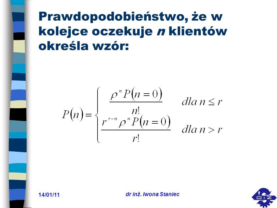 14/01/11 dr inż. Iwona Staniec Prawdopodobieństwo, że w kolejce oczekuje n klientów określa wzór: