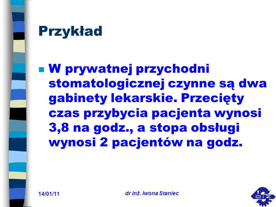 14/01/11 dr inż. Iwona Staniec Przykład n W prywatnej przychodni stomatologicznej czynne są dwa gabinety lekarskie. Przecięty czas przybycia pacjenta
