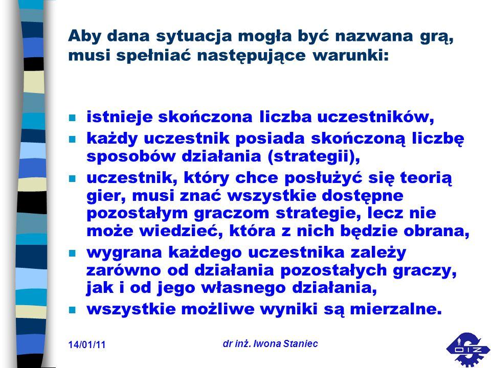 14/01/11 dr inż.Iwona Staniec n Graczem nazywa się każdą stronę zainteresowaną w grze.