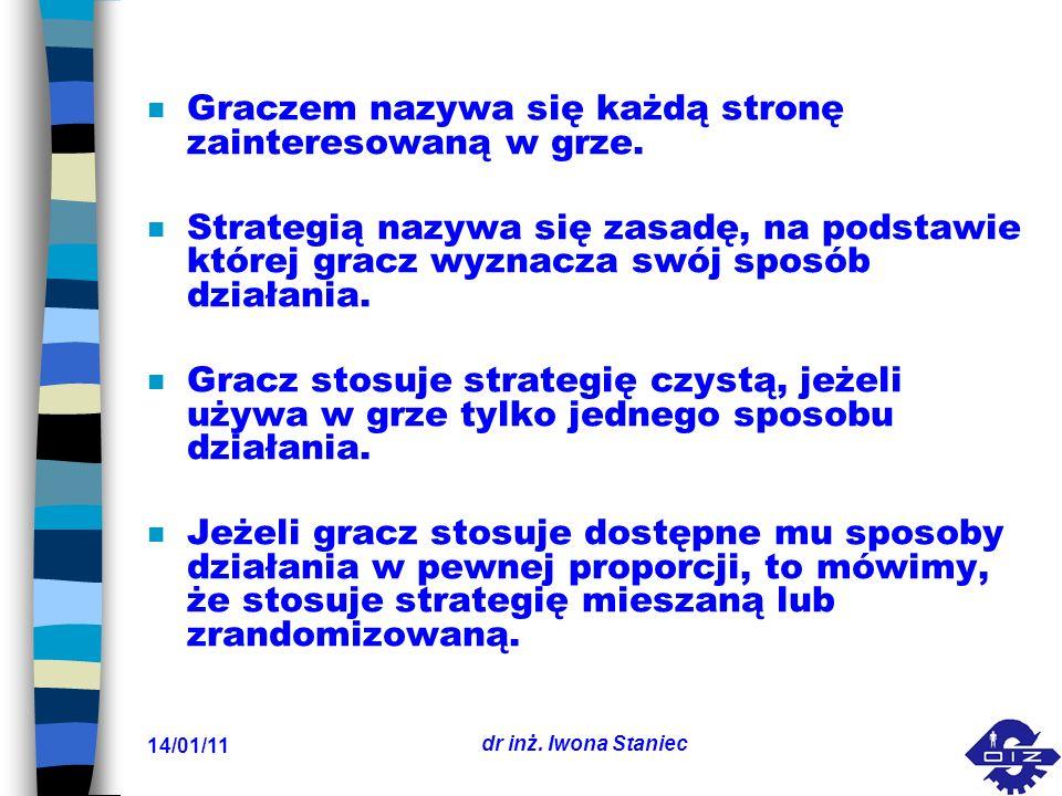 14/01/11 dr inż. Iwona Staniec n Graczem nazywa się każdą stronę zainteresowaną w grze. n Strategią nazywa się zasadę, na podstawie której gracz wyzna