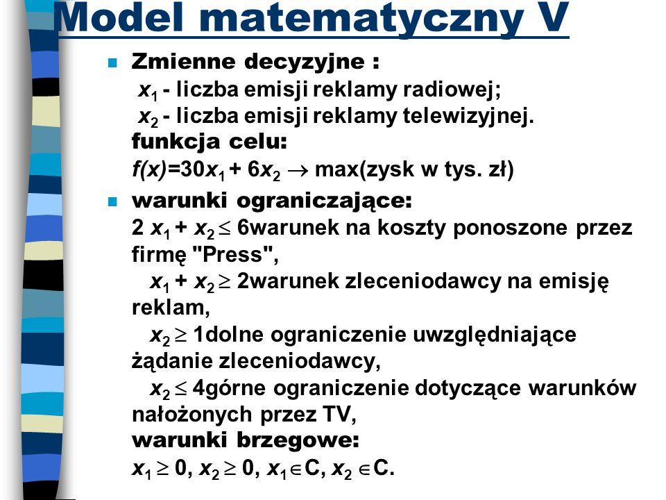 Model matematyczny V Zmienne decyzyjne : x 1 - liczba emisji reklamy radiowej; x 2 - liczba emisji reklamy telewizyjnej. funkcja celu: f(x)=30x 1 + 6x