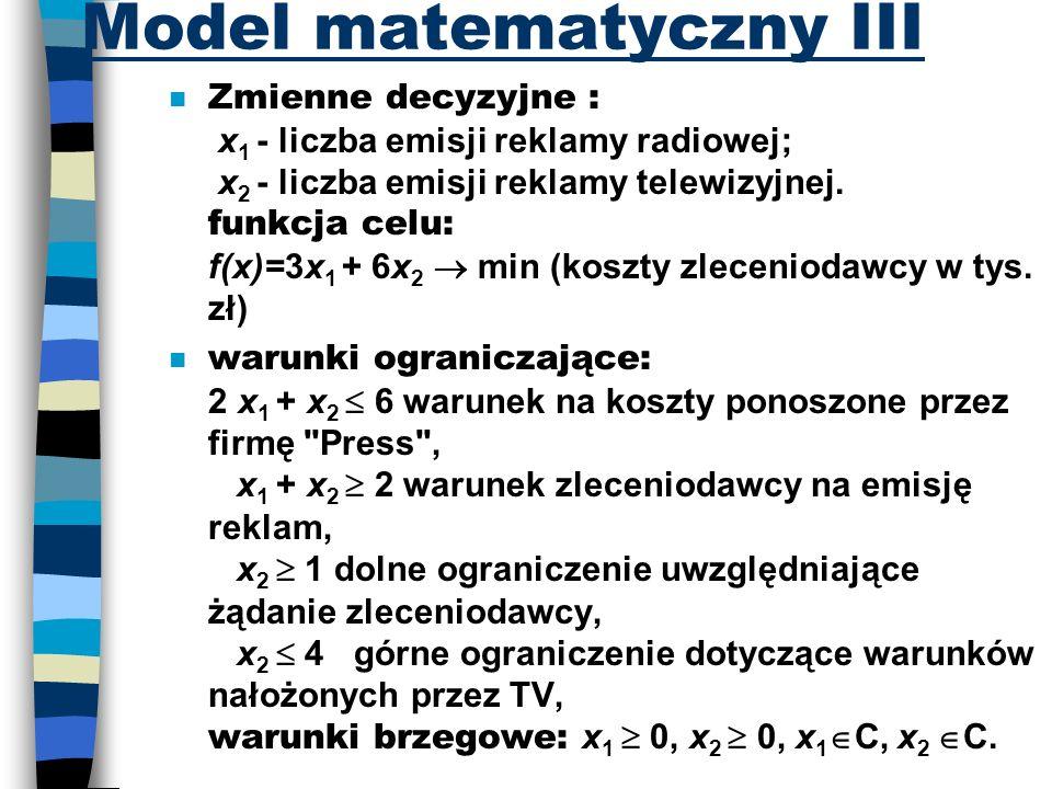 Model matematyczny III Zmienne decyzyjne : x 1 - liczba emisji reklamy radiowej; x 2 - liczba emisji reklamy telewizyjnej. funkcja celu: f(x)=3x 1 + 6