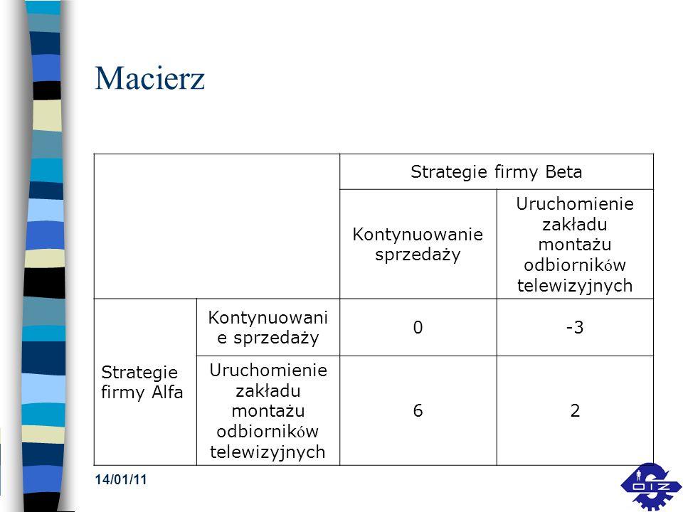 14/01/11 Macierz Strategie firmy Beta Kontynuowanie sprzedaży Uruchomienie zakładu montażu odbiornik ó w telewizyjnych Strategie firmy Alfa Kontynuowa