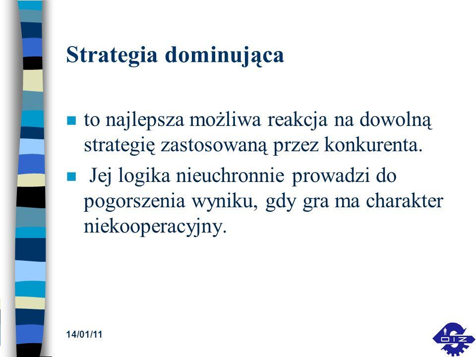 Strategia dominująca n to najlepsza możliwa reakcja na dowolną strategię zastosowaną przez konkurenta. n Jej logika nieuchronnie prowadzi do pogorszen