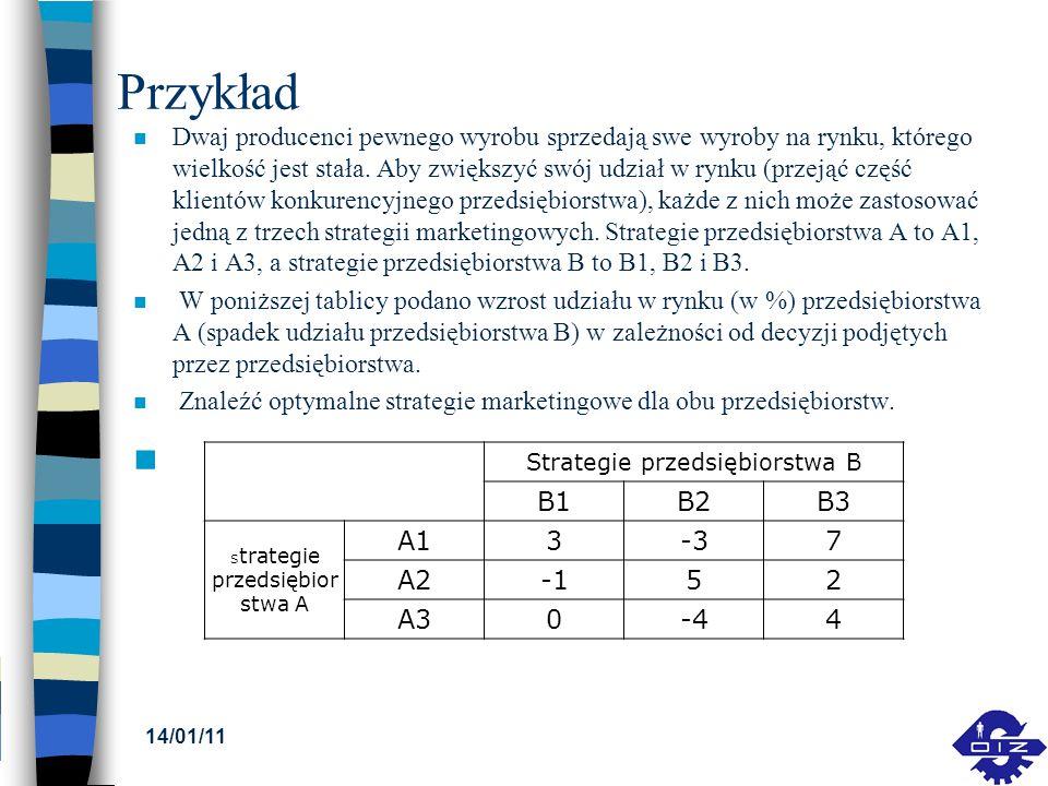 Przykład n Dwaj producenci pewnego wyrobu sprzedają swe wyroby na rynku, którego wielkość jest stała. Aby zwiększyć swój udział w rynku (przejąć część