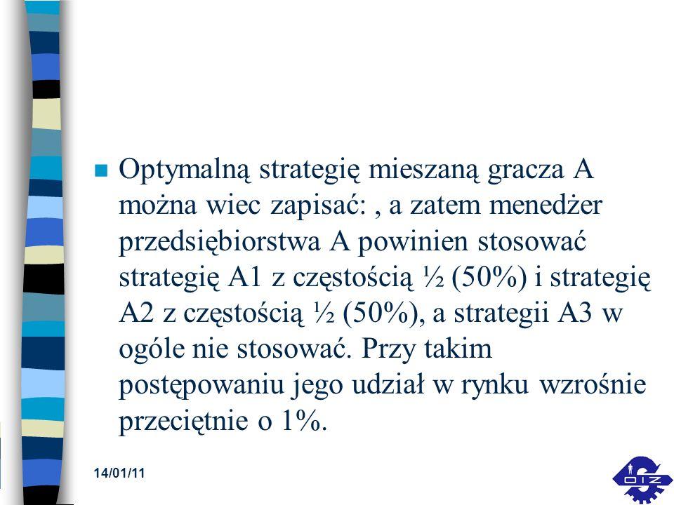 n Optymalną strategię mieszaną gracza A można wiec zapisać:, a zatem menedżer przedsiębiorstwa A powinien stosować strategię A1 z częstością ½ (50%) i
