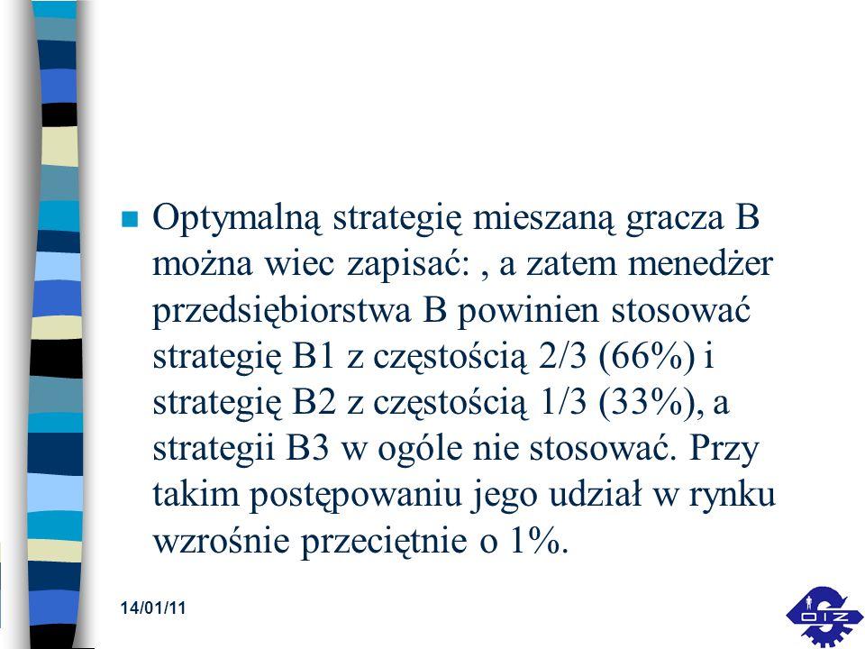 n Optymalną strategię mieszaną gracza B można wiec zapisać:, a zatem menedżer przedsiębiorstwa B powinien stosować strategię B1 z częstością 2/3 (66%)