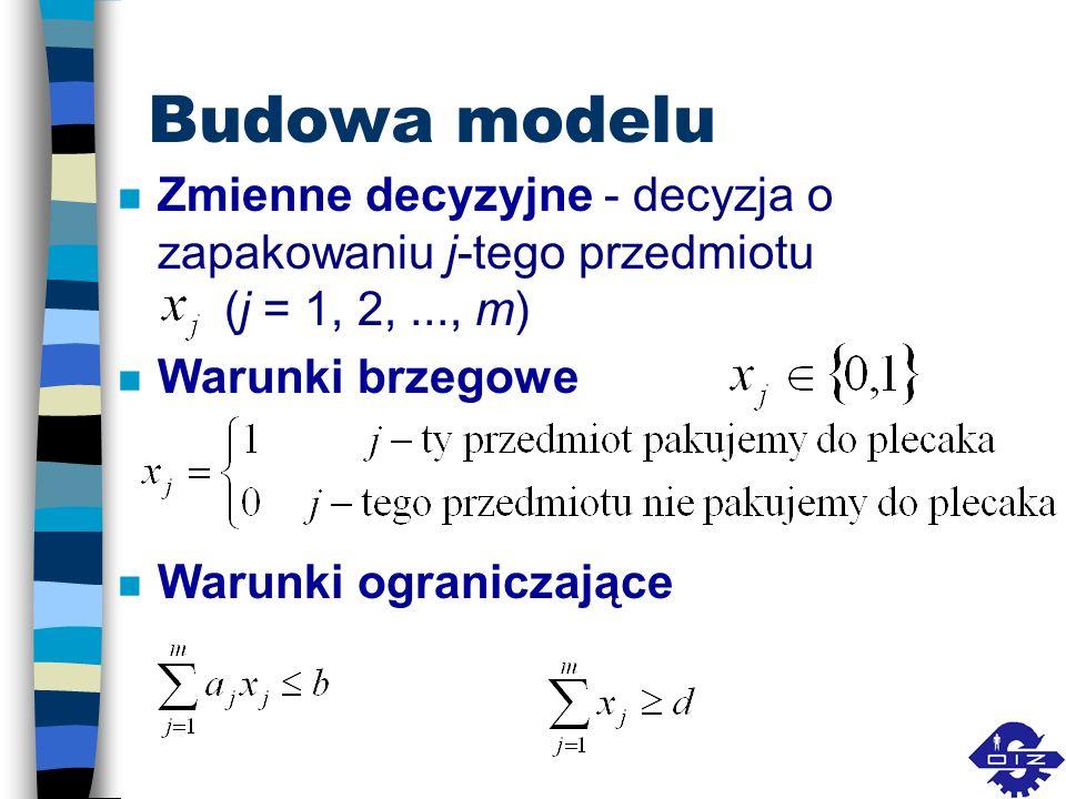 Budowa modelu n Zmienne decyzyjne - decyzja o zapakowaniu j-tego przedmiotu (j = 1, 2,..., m) n Warunki brzegowe n Warunki ograniczające