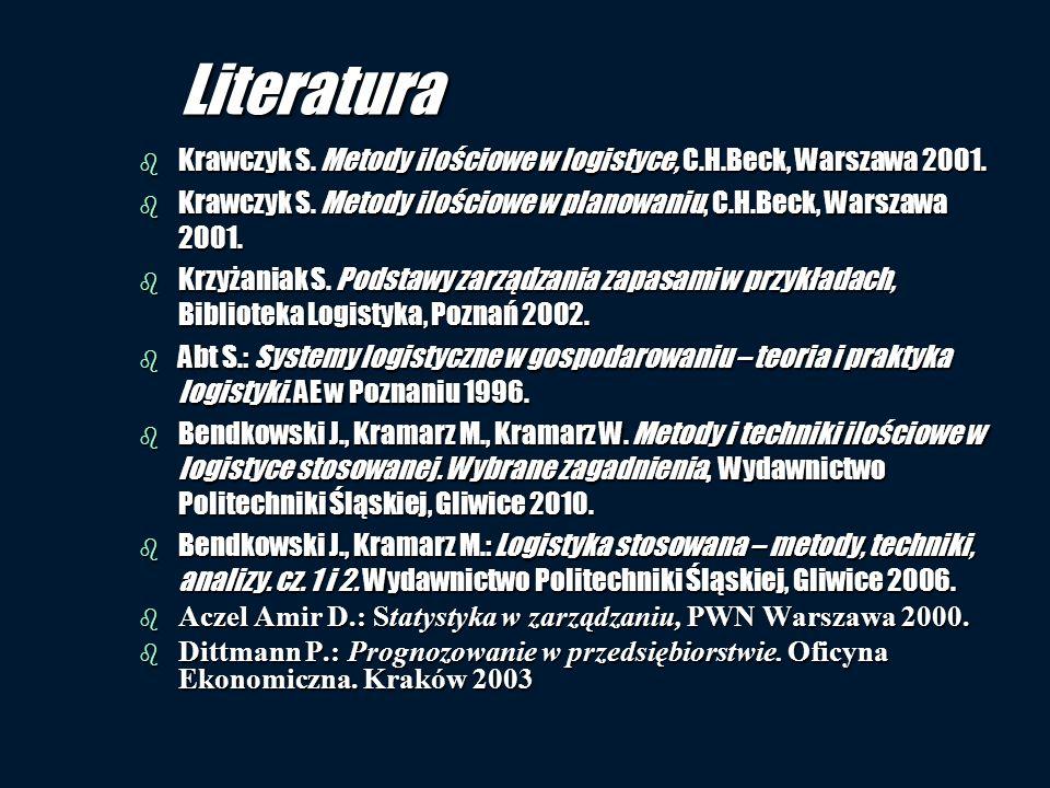Literatura b Krawczyk S. Metody ilościowe w logistyce, C.H.Beck, Warszawa 2001. b Krawczyk S. Metody ilościowe w planowaniu, C.H.Beck, Warszawa 2001.