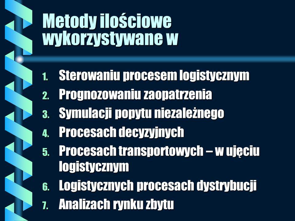 Metody ilościowe wykorzystywane w 1. Sterowaniu procesem logistycznym 2. Prognozowaniu zaopatrzenia 3. Symulacji popytu niezależnego 4. Procesach decy