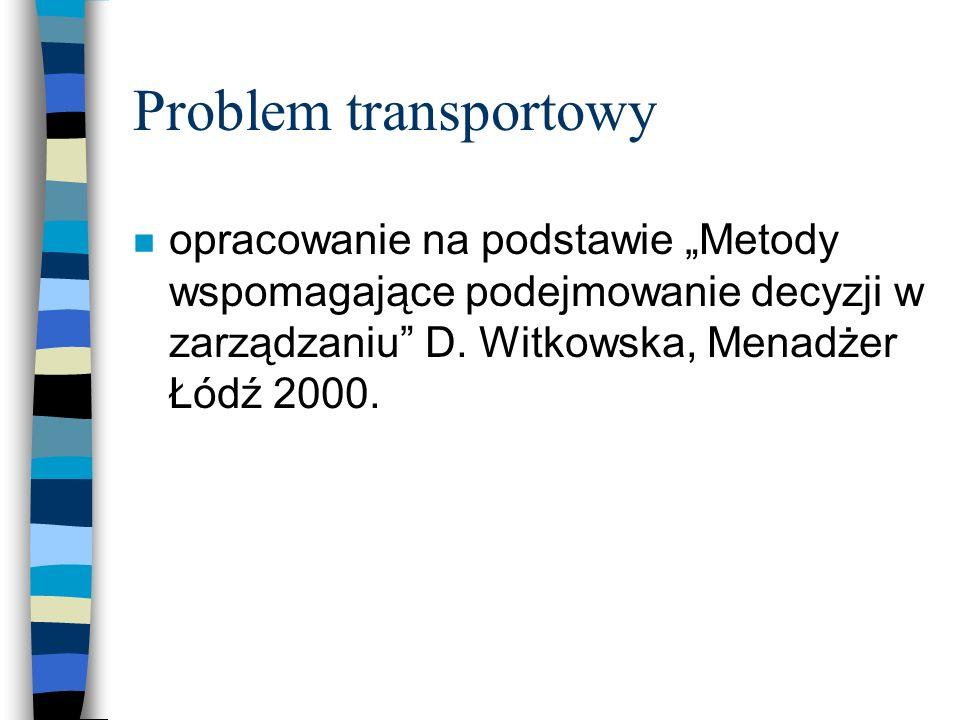 Problem transportowy n opracowanie na podstawie Metody wspomagające podejmowanie decyzji w zarządzaniu D. Witkowska, Menadżer Łódź 2000.