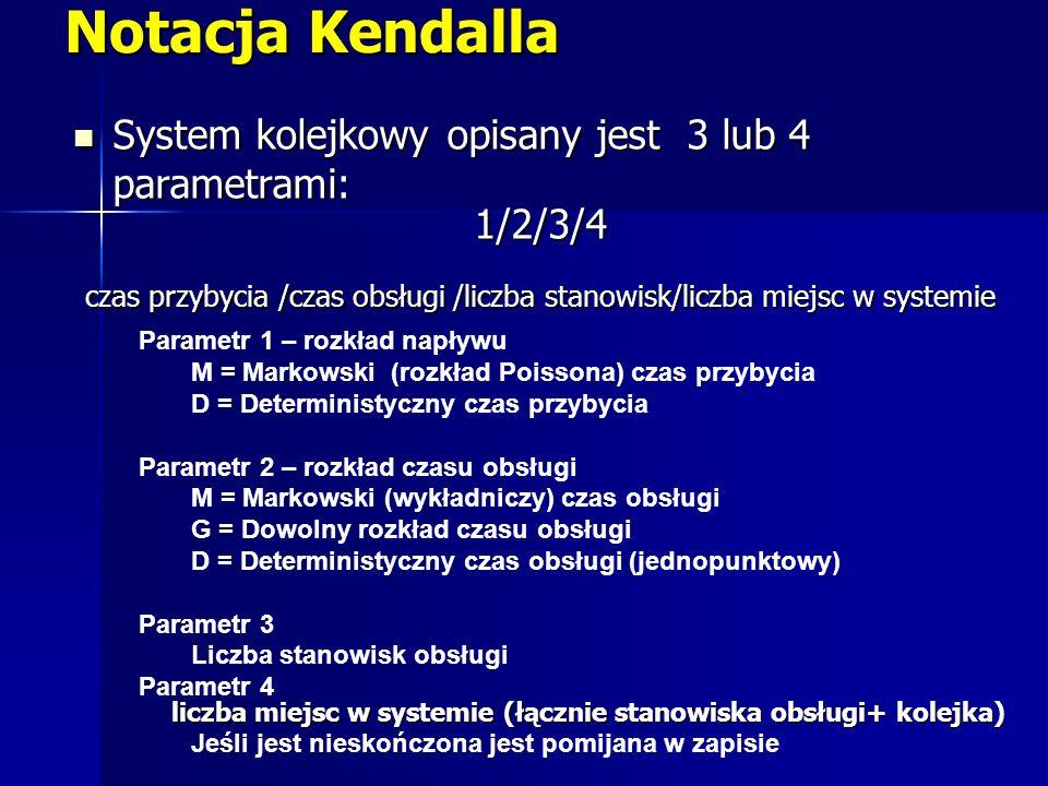 Notacja Kendalla System kolejkowy opisany jest 3 lub 4 parametrami: System kolejkowy opisany jest 3 lub 4 parametrami: 1/2/3/4 czas przybycia /czas ob