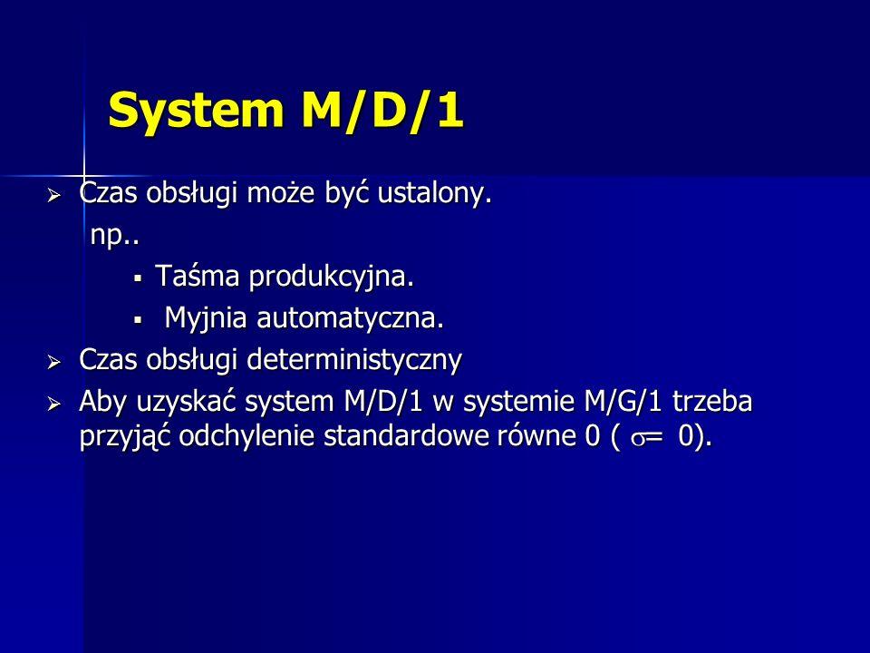 System M/D/1 Czas obsługi może być ustalony. Czas obsługi może być ustalony.np.. Taśma produkcyjna. Taśma produkcyjna. Myjnia automatyczna. Myjnia aut