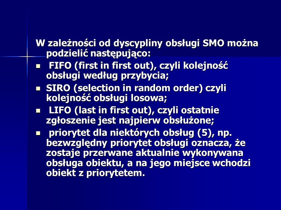 W zależności od dyscypliny obsługi SMO można podzielić następująco: FIFO (first in first out), czyli kolejność obsługi według przybycia; FIFO (first i