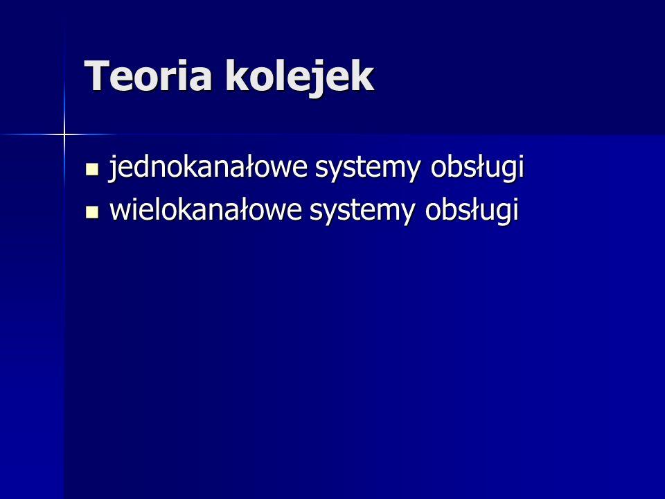 Teoria kolejek jednokanałowe systemy obsługi jednokanałowe systemy obsługi wielokanałowe systemy obsługi wielokanałowe systemy obsługi