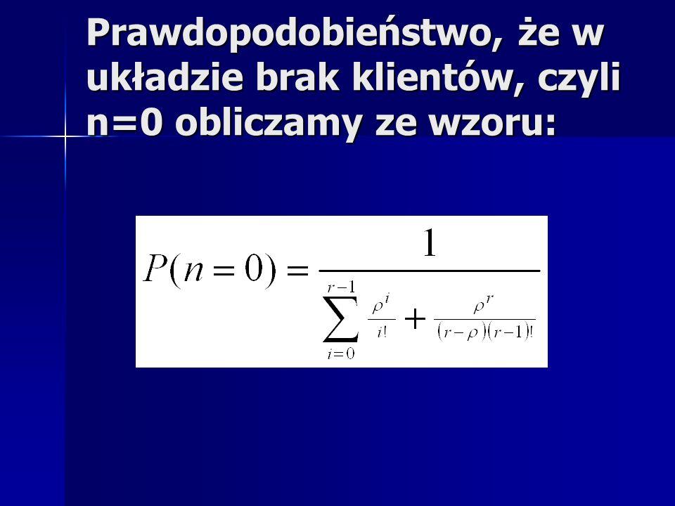 Prawdopodobieństwo, że w układzie brak klientów, czyli n=0 obliczamy ze wzoru: