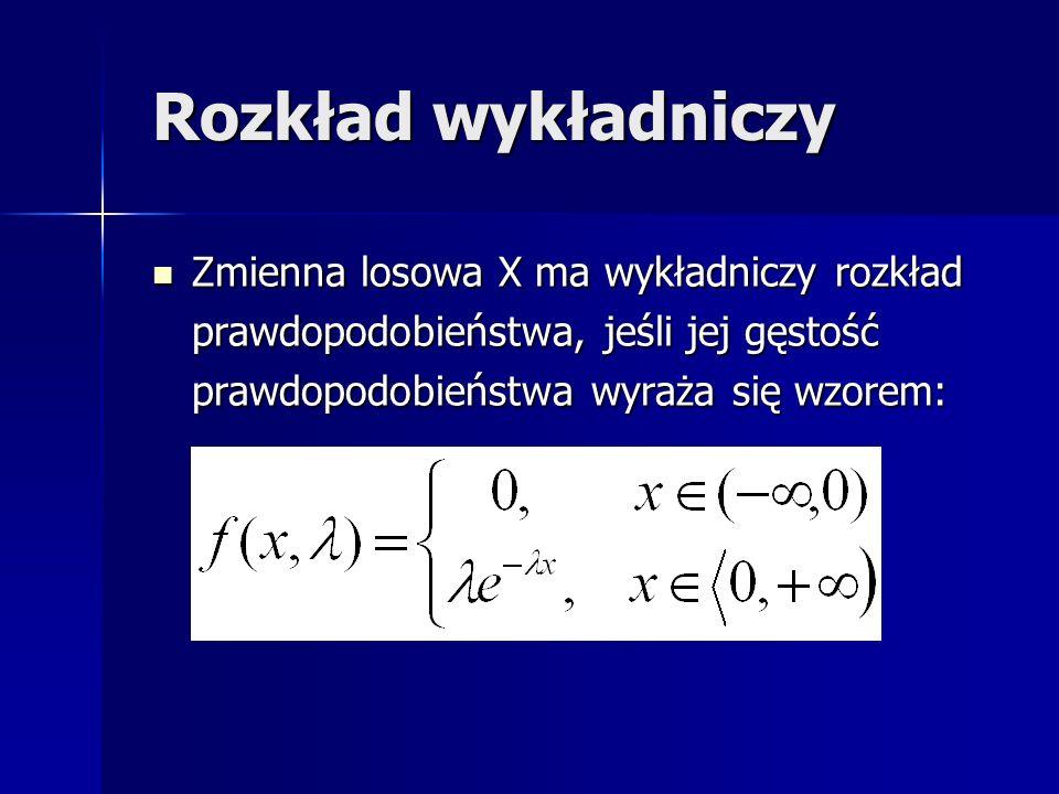 Rozkład wykładniczy Zmienna losowa X ma wykładniczy rozkład prawdopodobieństwa, jeśli jej gęstość prawdopodobieństwa wyraża się wzorem: Zmienna losowa