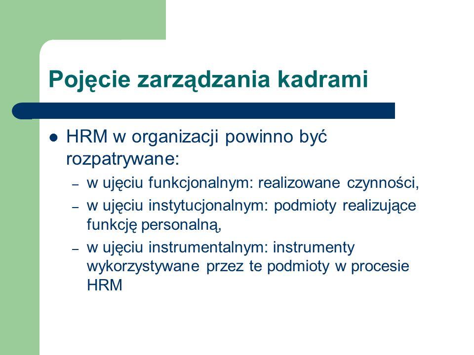 Pojęcie zarządzania kadrami HRM w organizacji powinno być rozpatrywane: – w ujęciu funkcjonalnym: realizowane czynności, – w ujęciu instytucjonalnym: