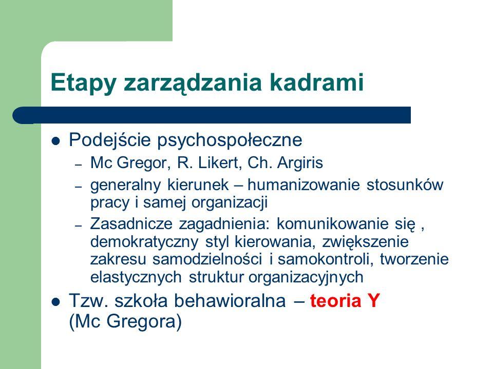 Etapy zarządzania kadrami Podejście psychospołeczne – Mc Gregor, R. Likert, Ch. Argiris – generalny kierunek – humanizowanie stosunków pracy i samej o