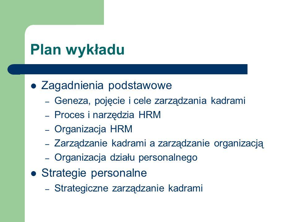 Plan wykładu Zagadnienia podstawowe – Geneza, pojęcie i cele zarządzania kadrami – Proces i narzędzia HRM – Organizacja HRM – Zarządzanie kadrami a za