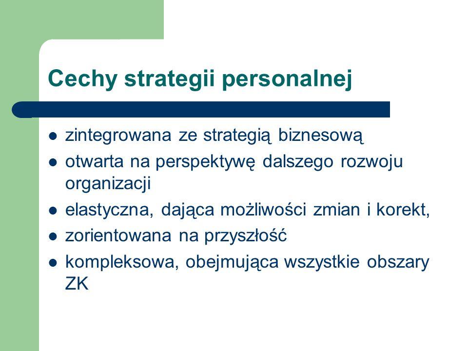 Cechy strategii personalnej zintegrowana ze strategią biznesową otwarta na perspektywę dalszego rozwoju organizacji elastyczna, dająca możliwości zmia