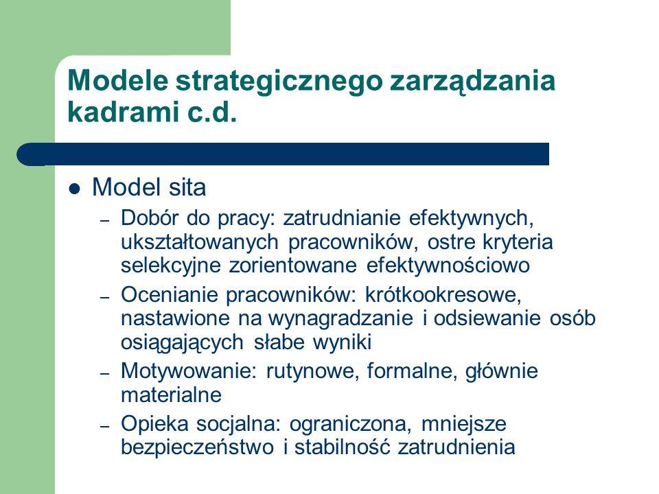 Modele strategicznego zarządzania kadrami c.d. Model sita – Dobór do pracy: zatrudnianie efektywnych, ukształtowanych pracowników, ostre kryteria sele