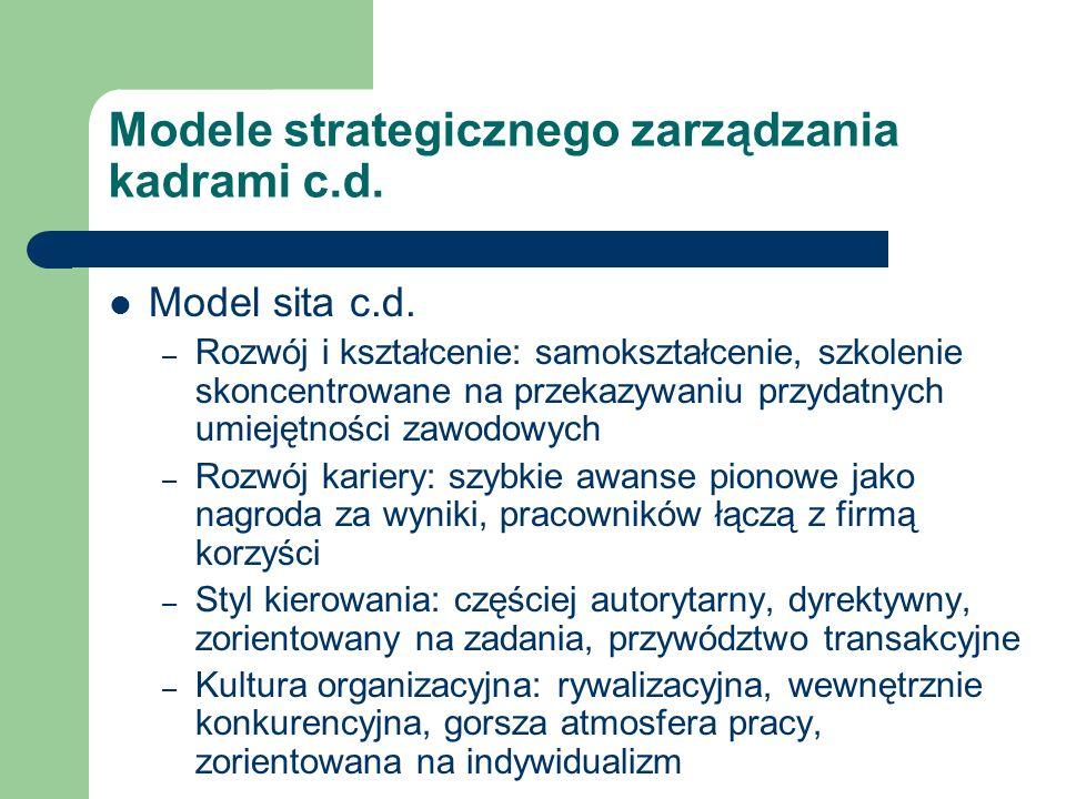 Modele strategicznego zarządzania kadrami c.d. Model sita c.d. – Rozwój i kształcenie: samokształcenie, szkolenie skoncentrowane na przekazywaniu przy