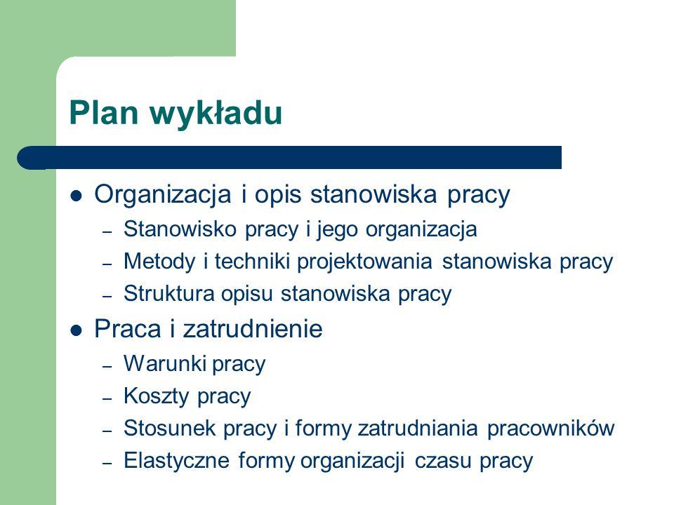 Plan wykładu Organizacja i opis stanowiska pracy – Stanowisko pracy i jego organizacja – Metody i techniki projektowania stanowiska pracy – Struktura