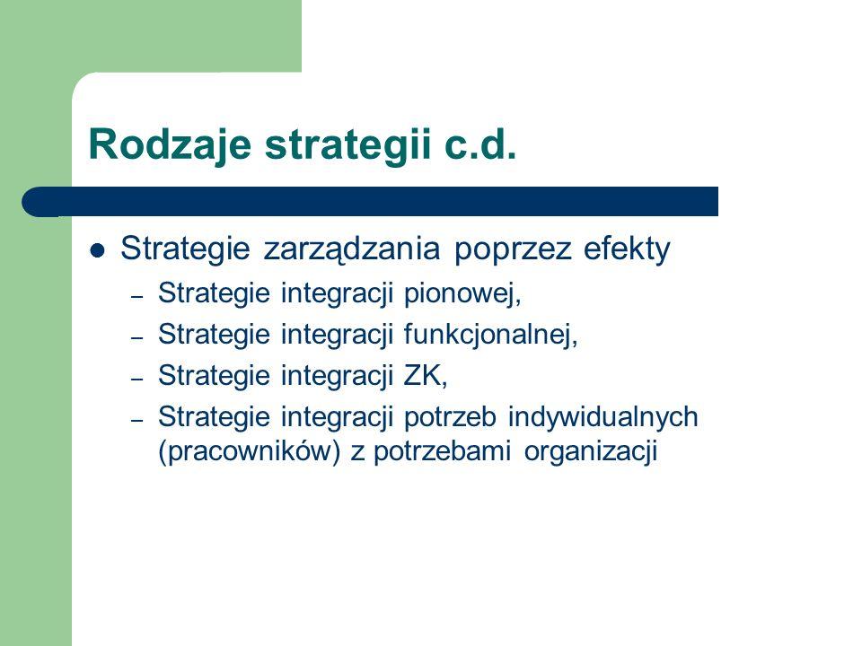 Rodzaje strategii c.d. Strategie zarządzania poprzez efekty – Strategie integracji pionowej, – Strategie integracji funkcjonalnej, – Strategie integra