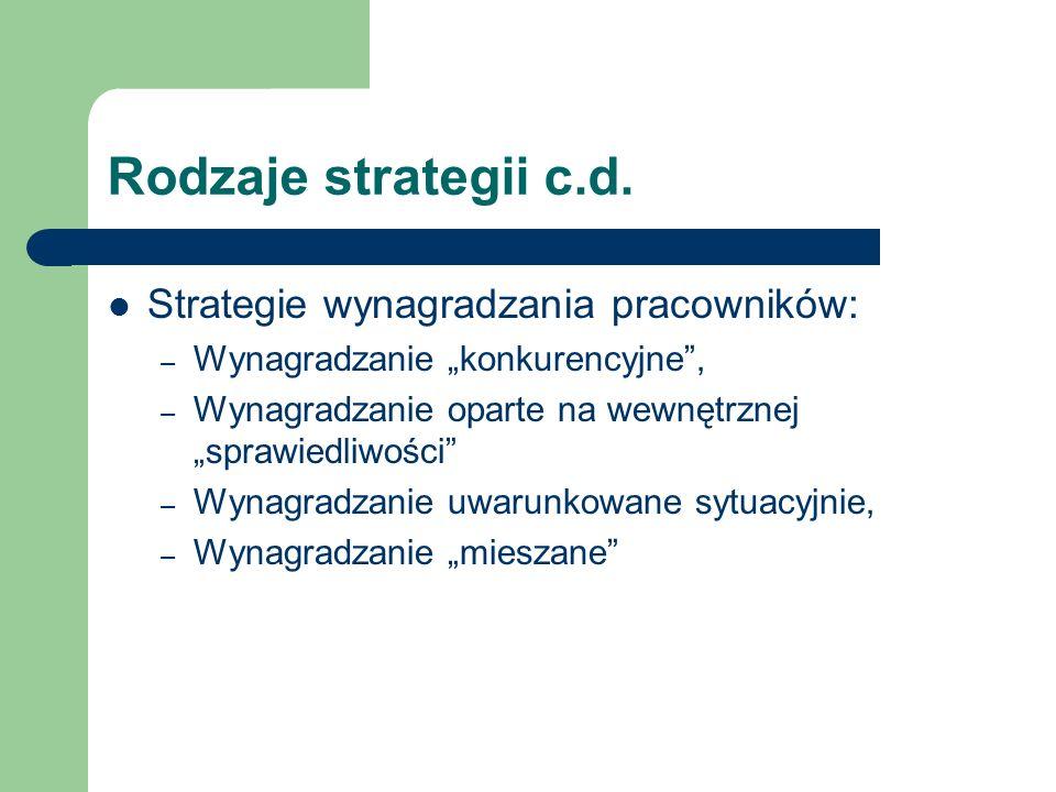 Rodzaje strategii c.d. Strategie wynagradzania pracowników: – Wynagradzanie konkurencyjne, – Wynagradzanie oparte na wewnętrznej sprawiedliwości – Wyn