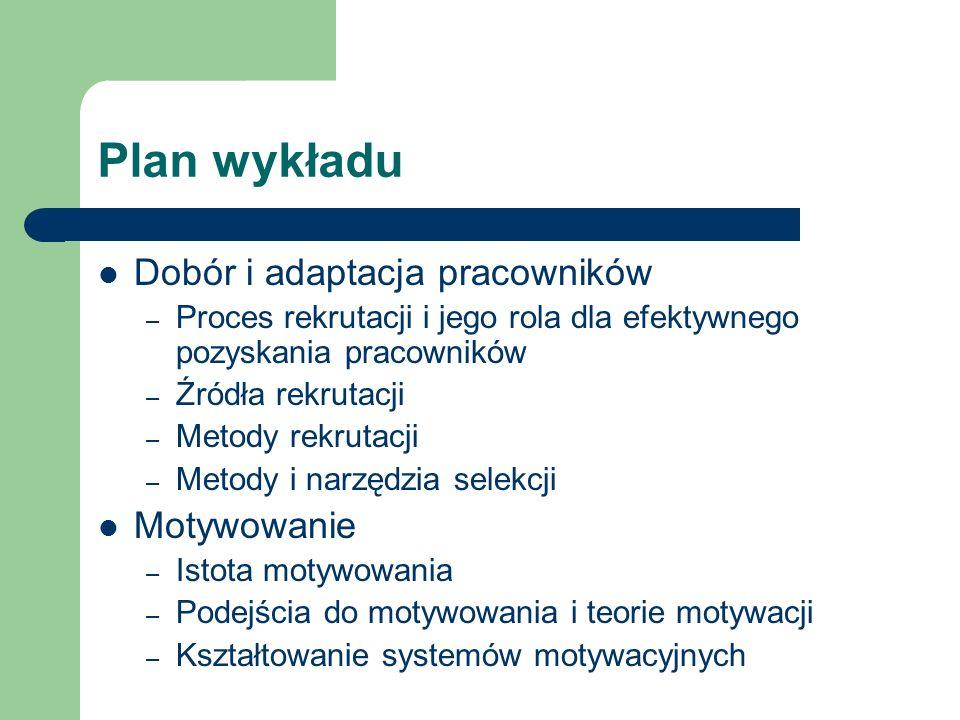 Plan wykładu Dobór i adaptacja pracowników – Proces rekrutacji i jego rola dla efektywnego pozyskania pracowników – Źródła rekrutacji – Metody rekruta
