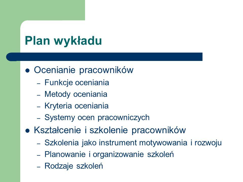 Plan wykładu Ocenianie pracowników – Funkcje oceniania – Metody oceniania – Kryteria oceniania – Systemy ocen pracowniczych Kształcenie i szkolenie pr